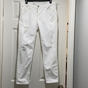 Gap white distressed jeans